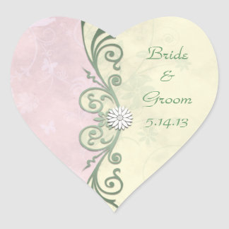 Pastel Pink and Yellow Spring Floral Wedding Heart Sticker