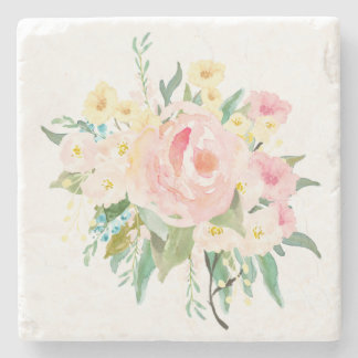 Pastel Pink and Yellow Watercolor Flowers Stone Coaster