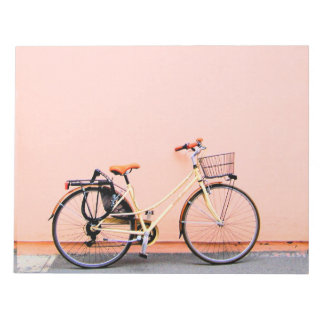 Pastel Pink Bike Basket Bicycle Two Wheel Notepad