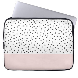 Pastel pink black watercolor polka dots pattern laptop computer sleeve