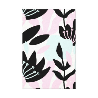 Pastel Pink, Blue and Black Floral Abstract Canvas Print