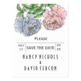 Pastel pink, blue peonies wedding Save the Date Postcard