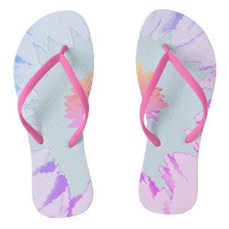 Pastel Pink Blue Petals Motif on Thongs