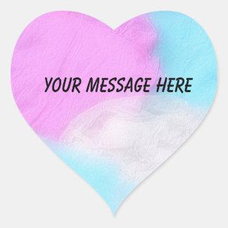 Pastel Pink Blue Tissue Paper Heart Sticker