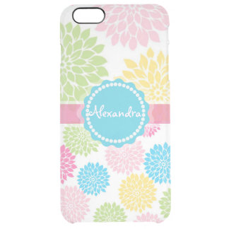 Pastel Pink, blue, Yellow Dahlia flowers name Clear iPhone 6 Plus Case