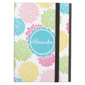 Pastel Pink, blue, Yellow Dahlia flowers name iPad Air Case
