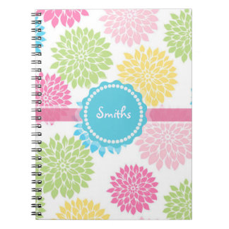 Pastel Pink, blue, Yellow Dahlia flowers name Note Books