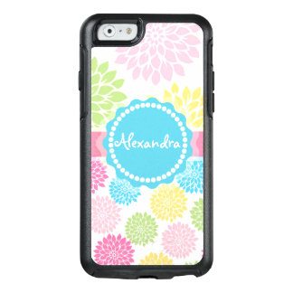 Pastel Pink, blue, Yellow Dahlia flowers name OtterBox iPhone 6/6s Case