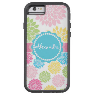 Pastel Pink, blue, Yellow Dahlia flowers name Tough Xtreme iPhone 6 Case