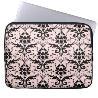 Pastel Pink Blush Girly | Elegant Damask Pattern Laptop Sleeve