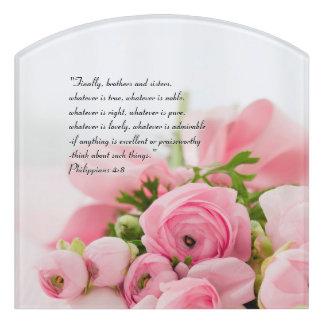 Pastel Pink Bouquet of Flowers Bible Verse Door Sign