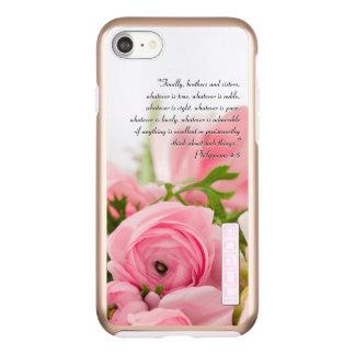Pastel Pink Bouquet of Flowers Bible Verse Incipio DualPro Shine iPhone 8/7 Case