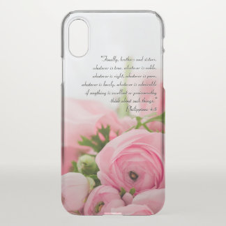 Pastel Pink Bouquet of Flowers Bible Verse iPhone X Case