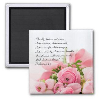 Pastel Pink Bouquet of Flowers Bible Verse Magnet