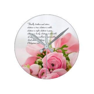 Pastel Pink Bouquet of Flowers Bible Verse Round Clock