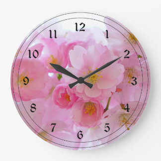 Pastel Pink Cherry Blossoms Large Clock