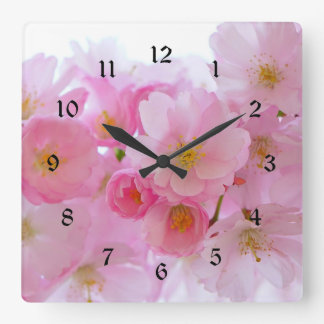 Pastel Pink Cherry Blossoms Square Wall Clock