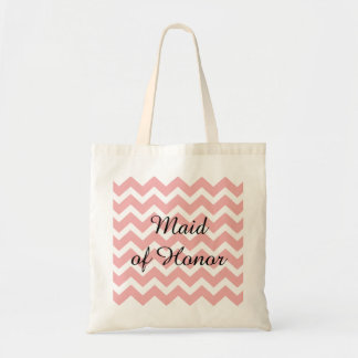 Pastel Pink Chevron Zigzag Maid of Honor Tote Bag