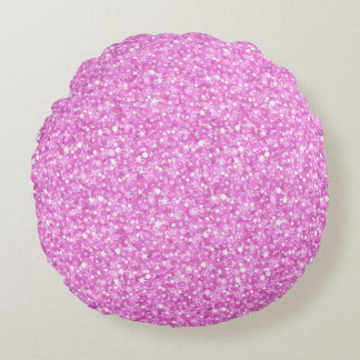 Pastel Pink Colors Faux Glitter & Sparkles Print Round Cushion