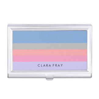 pastel pink coral grey blue purple color block business card holder