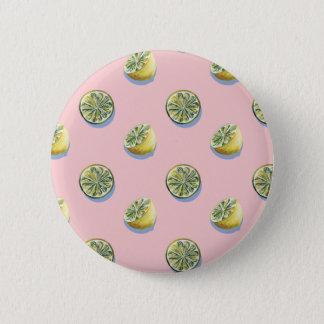 Pastel pink cut yellow lemon painting pattern 6 cm round badge