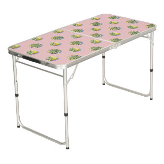 Pastel pink cut yellow lemon painting pattern beer pong table