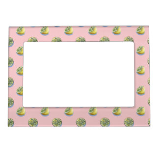 Pastel pink cut yellow lemon painting pattern magnetic picture frame