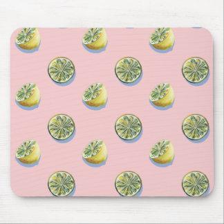 Pastel pink cut yellow lemon painting pattern mouse pad