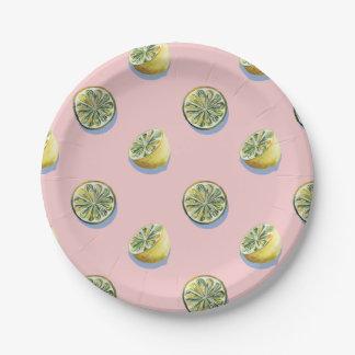 Pastel pink cut yellow lemon painting pattern paper plate