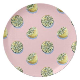 Pastel pink cut yellow lemon painting pattern plate