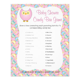Pastel Pink Cute Owl Baby Shower Theme | Game Flyer