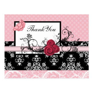pastel pink damask polka dots Thank you Post Cards