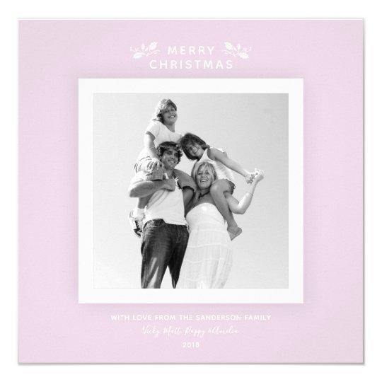 Pastel Pink Feminine Minimal Christmas Photo Card