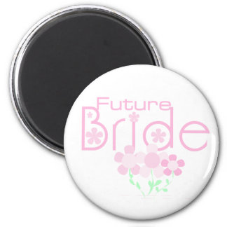 Pastel Pink Flowers Future Bride 6 Cm Round Magnet