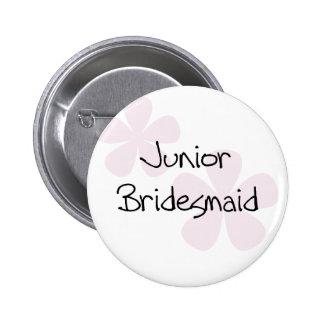 Pastel Pink Flowers Jr. Bridesmaid 6 Cm Round Badge