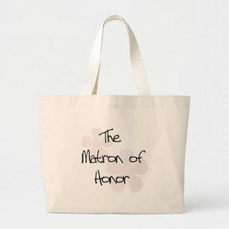 Pastel Pink Flowers Matron of Honor Jumbo Tote Bag