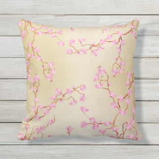 Pastel Pink Flowers Tree branch Cushion