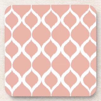 Pastel Pink Geometric Ikat Tribal Print Pattern Drink Coaster