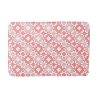 Pastel Pink Geometric Pattern Design Bathroom Mat