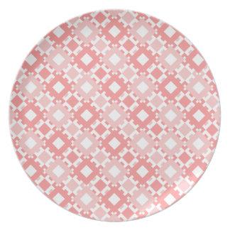 Pastel Pink Geometric Pattern Melamine Plate