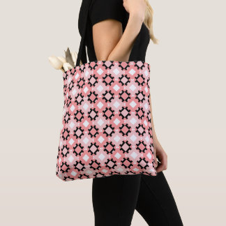 Pastel Pink Geometric Pattern Tote Bag Design
