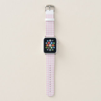 Pastel Pink Gingham Check Pattern Apple Watch Band