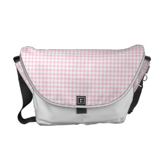 Pastel Pink Gingham Check Pattern Courier Bag