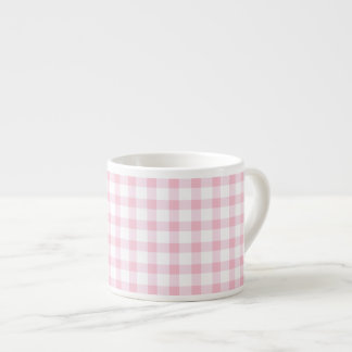 Pastel Pink Gingham Check Pattern Espresso Cup