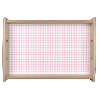 Pastel Pink Gingham Check Pattern Serving Tray