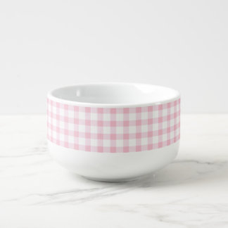 Pastel Pink Gingham Check Pattern Soup Mug