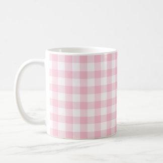 Pastel Pink Gingham Checked Pattern Coffee Mug