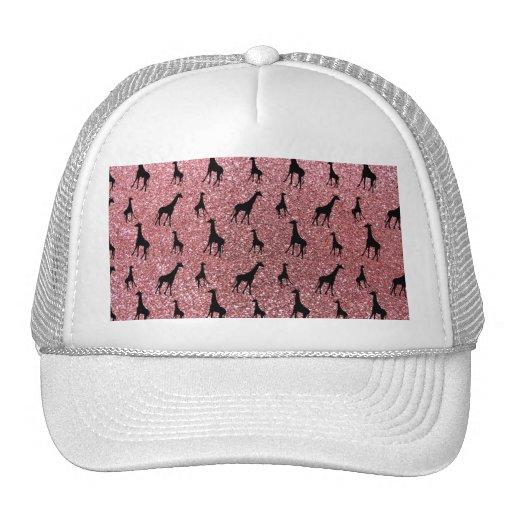 Pastel pink giraffe glitter pattern trucker hat