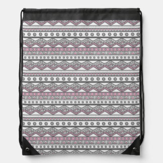 Pastel Pink Girly Trendy Aztec Drawstring Backpack