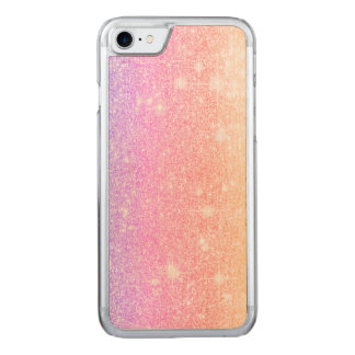 Pastel Pink Glitter Shine Look Carved iPhone 7 Case